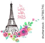Eiffel Tower With Watercolor...