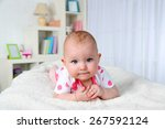 cute baby girl  on home... | Shutterstock . vector #267592124