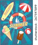 summer and ice cream  | Shutterstock .eps vector #267597899