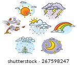 set of cartoon weather... | Shutterstock .eps vector #267598247