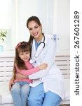 little girl and young doctor in ... | Shutterstock . vector #267601289