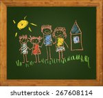 happy family. blackboard. kids... | Shutterstock . vector #267608114