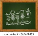 happy family. blackboard. kids... | Shutterstock . vector #267608129