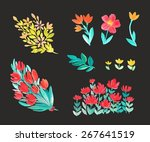 set of watercolor flowers ... | Shutterstock .eps vector #267641519