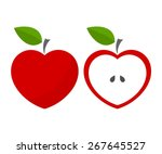 Red Heart Shaped Apples. Vector ...