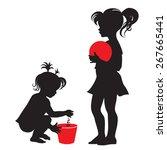 children. little girl with red...   Shutterstock .eps vector #267665441
