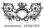 vintage royal hand drawn frame...   Shutterstock .eps vector #267667355