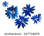 Blue Flowers. Watercolor.