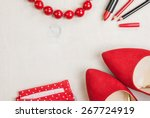 still life of fashion woman.... | Shutterstock . vector #267724919