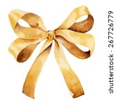 graceful golden bow isolated on ... | Shutterstock .eps vector #267726779
