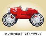 funny retro future red car...
