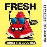 watermelon character vector... | Shutterstock .eps vector #267752111