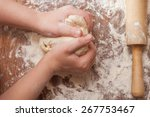 making pie  kid's hands... | Shutterstock . vector #267753467