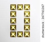 letter icon  gold pixel font... | Shutterstock .eps vector #267761267
