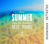set of summer elements  blurred ... | Shutterstock .eps vector #267765761