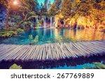 Stock photo majestic view on turquoise water and sunny beams in the plitvice lakes national park croatia 267769889