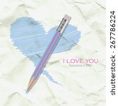 heart and pencil on the... | Shutterstock .eps vector #267786224