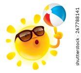 summer sun with beach ball | Shutterstock .eps vector #267788141
