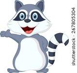happy raccoon cartoon... | Shutterstock . vector #267805304
