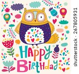 happy birthday card with owl | Shutterstock .eps vector #267805931