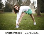 young woman stretching at the...   Shutterstock . vector #26780821