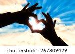 silhouette hands in heart shape ...   Shutterstock . vector #267809429