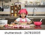 Little Asian Girl Making Dough...