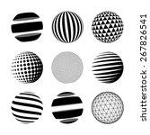 set of black abstract sphere.... | Shutterstock . vector #267826541