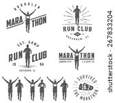 set of vintage run club labels  ...   Shutterstock . vector #267833204