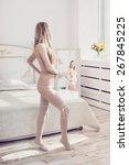 beautiful woman in white...   Shutterstock . vector #267845225