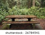 Outdoor Picnic Table In Rural...