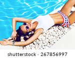 young sexy woman laying and... | Shutterstock . vector #267856997