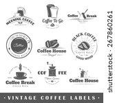 set of coffee labels. elements... | Shutterstock .eps vector #267860261