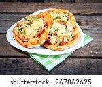 mini focaccia with tomatoes ...   Shutterstock . vector #267862625