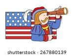 man looking in binocular with... | Shutterstock .eps vector #267880139