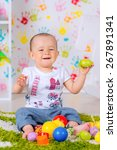 cheerful kid playing at home on ... | Shutterstock . vector #267891341