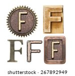 alphabet made of wood and metal.... | Shutterstock . vector #267892949