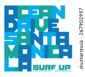 surf santa monica typography  t ... | Shutterstock .eps vector #267902957