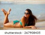 tanned beautiful brunette...   Shutterstock . vector #267908435