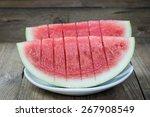 Slice Of Watermelon On Wood...