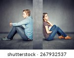 wall between couple | Shutterstock . vector #267932537