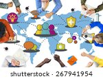 social network sharing global...   Shutterstock . vector #267941954