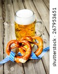 bavarian beer and pretzels with ... | Shutterstock . vector #267953651