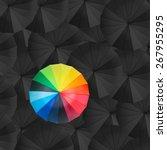 leader holding red umbrella for ...   Shutterstock . vector #267955295