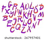 vector hand drawn letters.... | Shutterstock .eps vector #267957401