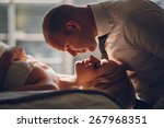blonde bride with her groom | Shutterstock . vector #267968351