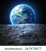 blue earth view from moon... | Shutterstock . vector #267973877