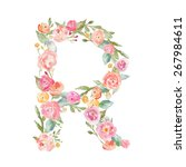 watercolor flower alphabet... | Shutterstock . vector #267984611