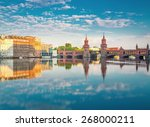 Stock photo oberbaumbruecke berlin summer with reflection and clouds 268000211