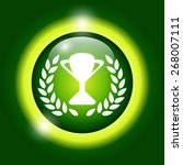 trophy and awards icon on green ...